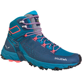 Salewa Alpenrose Ultra Mid GTX Shoes Women Blue Sapphire/Fluo Coral